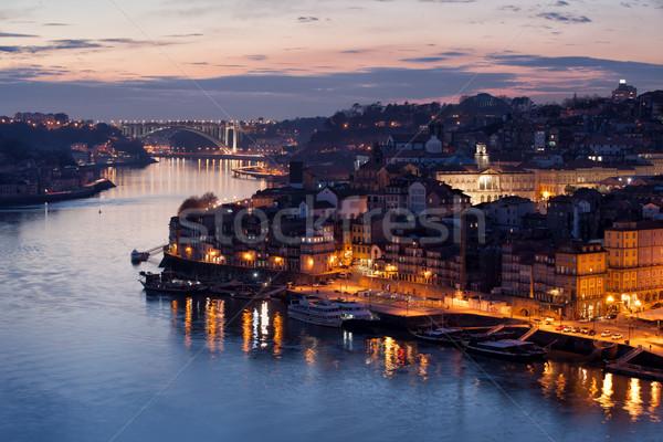 Stockfoto: Stad · Portugal · schemering · water · gebouwen · nacht