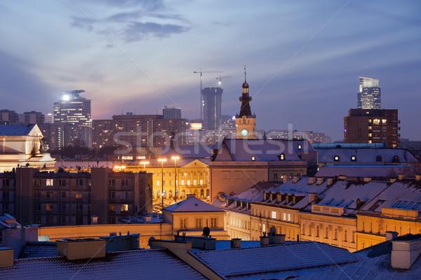 Varsovia paisaje urbano crepúsculo ciudad Polonia invierno Foto stock © rognar