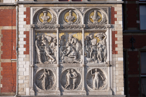 Reliefs on Amsterdam Central Train Station Stock photo © rognar
