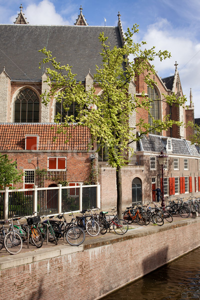 Amsterdam Motosiklet kanal Hollanda Hollanda Stok fotoğraf © rognar