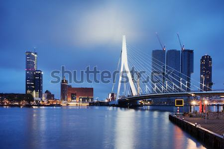 Erasmus Bridge in Rotterdam at Twilight Stock photo © rognar