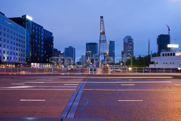 Rue nuit rotterdam ville centre Photo stock © rognar
