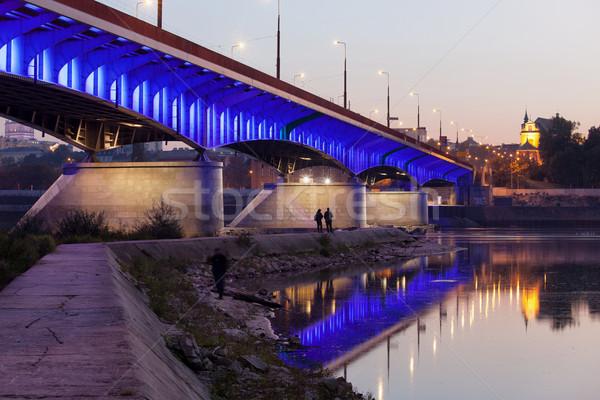 моста Варшава сумерки Размышления воды Сток-фото © rognar