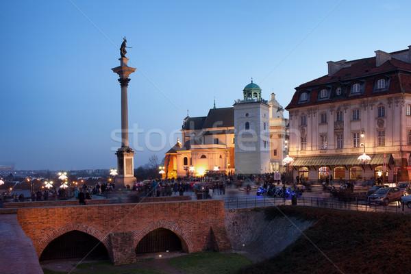 колонки Церкви Варшава замок квадратный сумерки Сток-фото © rognar