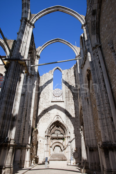 Igreja do Carmo Church Ruins in Lisbon Stock photo © rognar