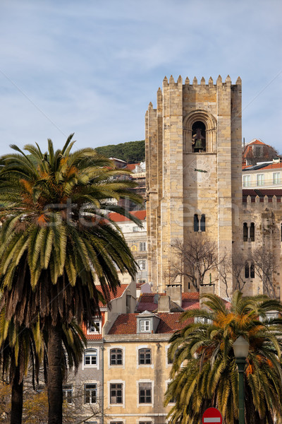 Tower of the Lisbon Cathedral in Portugal Stock photo © rognar