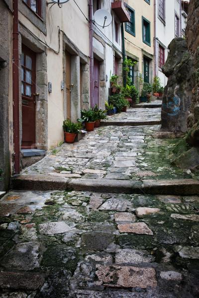 Steegje oude binnenstad Portugal stad smal middeleeuwse Stockfoto © rognar
