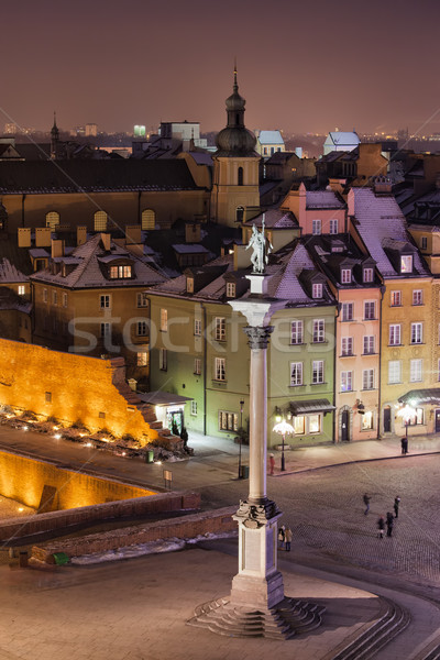 Old Town of Warsaw in Poland by Night Stock photo © rognar