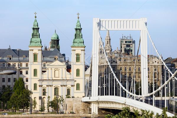 Parish Church and Elizabeth Bridge in Budapest Stock photo © rognar
