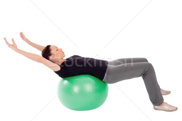 Vrouw abdominaal oefening geschikt gymnasium bal Stockfoto © rognar