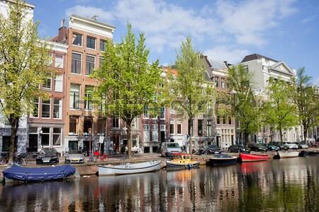 Amsterdam kanaal Nederland boten holland gebouw Stockfoto © rognar