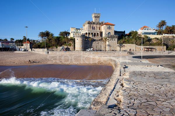 Stockfoto: Resort · stad · Portugal · pittoreske · kasteel · pier