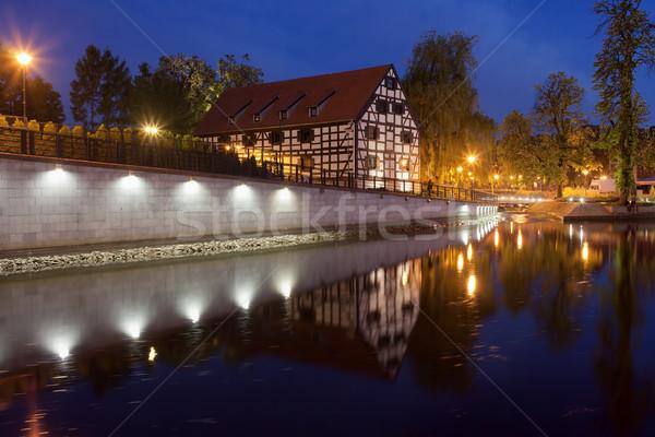 White Granary in Bydgoszcz at Night Stock photo © rognar
