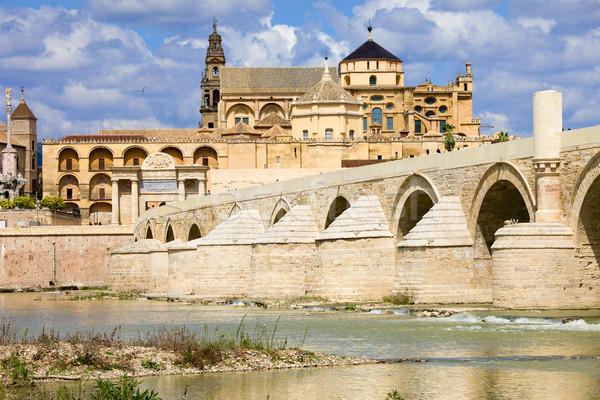 Mezquita Cathedral and Roman Bridge in Cordoba Stock photo © rognar