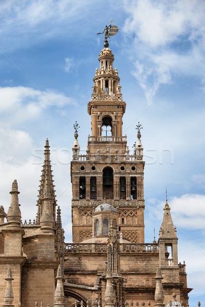 La Giralda Bell Tower of Seville Cathedral in Spain Stock photo © rognar