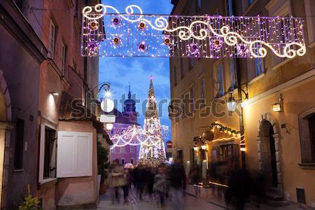 クリスマス 装飾 通り ワルシャワ 旧市街 ポーランド ストックフォト © rognar