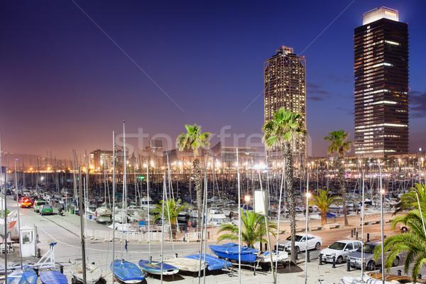 Kikötő marina éjszaka Barcelona város utazás Stock fotó © rognar