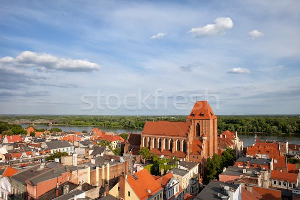 Stad oude binnenstad rivier landschap gebouwen Stockfoto © rognar