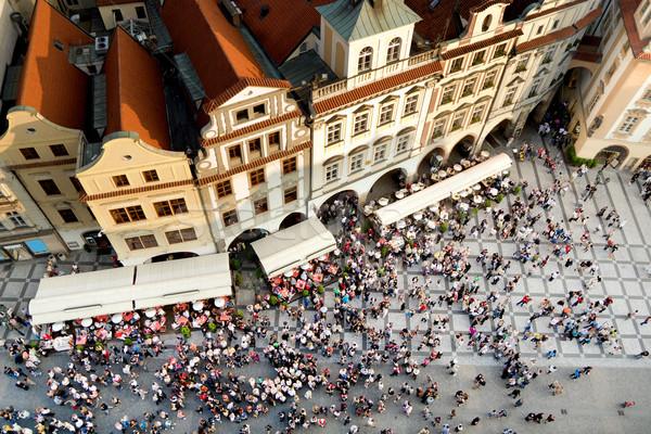 Praha starówka placu turystycznych tłum Czechy Zdjęcia stock © rognar