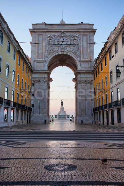 Rua Augusta Arch at Dawn in Lisbon Stock photo © rognar