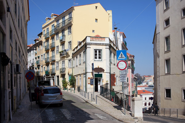Houses in the Bairro Alto District of Lisbon Stock photo © rognar