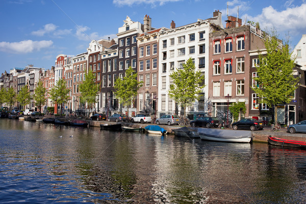 Singel Canal Houses in Amsterdam Stock photo © rognar