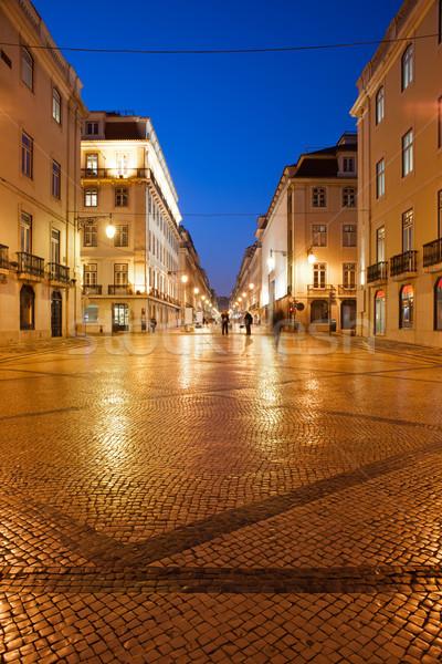 Strada notte Lisbona pedonale città Portogallo Foto d'archivio © rognar