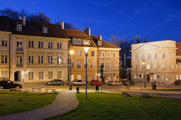 Nieuwe stad Warschau nacht oude binnenstad Polen Stockfoto © rognar