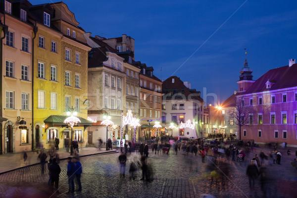 старый город Варшава ночь исторический домах замок Сток-фото © rognar