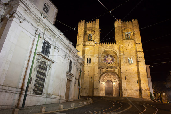 Lisbon Cathedral at Night in Portugal Stock photo © rognar