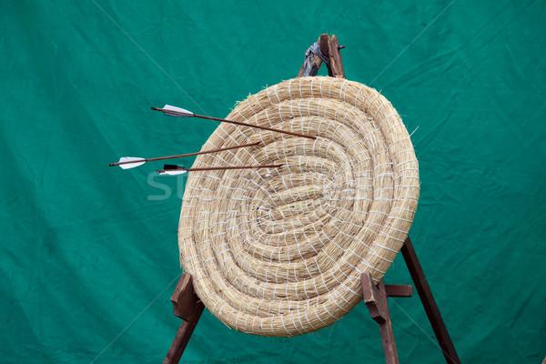 Boogschieten stro target traditioneel stand drie Stockfoto © rognar