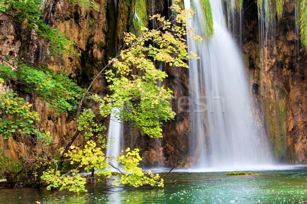Scenic Waterfall in Autumn Stock photo © rognar
