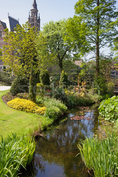 Garden of the Peace Palace in Den Haag Stock photo © rognar