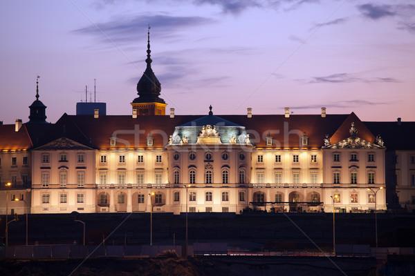 королевский замок сумерки Варшава сумерки Сток-фото © rognar