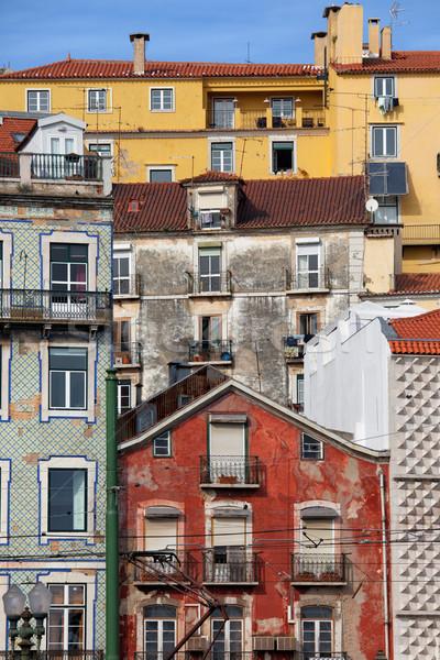 красочный домах город Лиссабон старые район Сток-фото © rognar