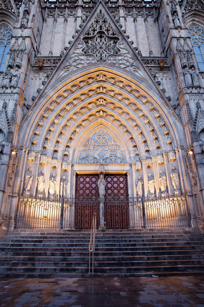 Gothic Portal to the Barcelona Cathedral Stock photo © rognar