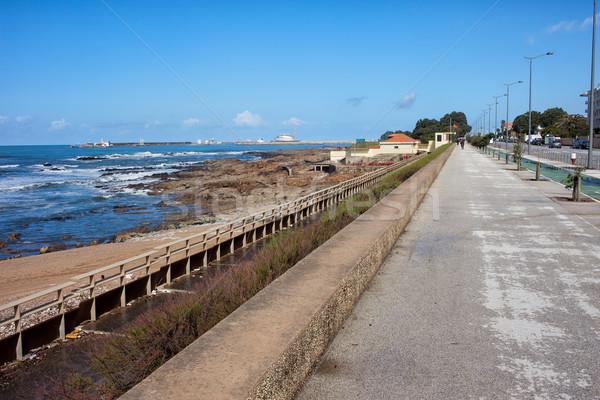 Promenade oceaan stad vakantie trottoir toerisme Stockfoto © rognar