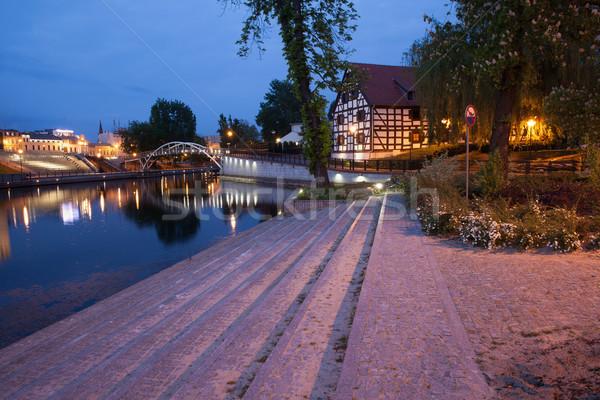 ストックフォト: 市 · 1泊 · ポーランド · 川 · 水辺 · ミル