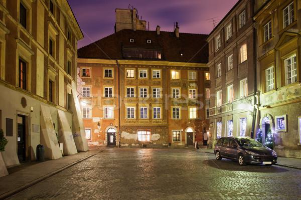 Cidade velha noite cidade ver casa casa Foto stock © rognar