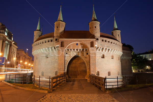 Fortification nuit cracovie Pologne forteresse vieux Photo stock © rognar