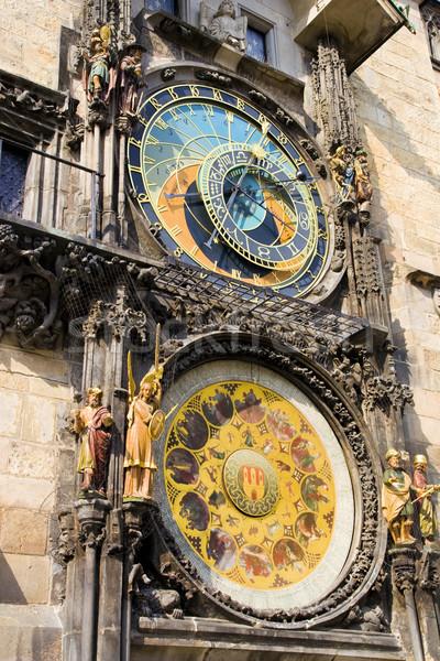 Csillagászati óra Prága középkori tájékozódási pont fal Stock fotó © rognar