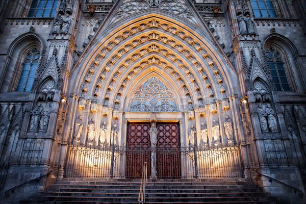 Stock fotó: Bejárat · Barcelona · katedrális · éjszaka · gótikus · stílus