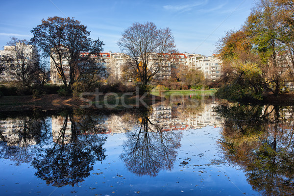 City Park in Autumn with Reflection on Water Stock photo © rognar