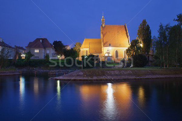 Bydgoszcz Cathedral and Brda River by Night Stock photo © rognar