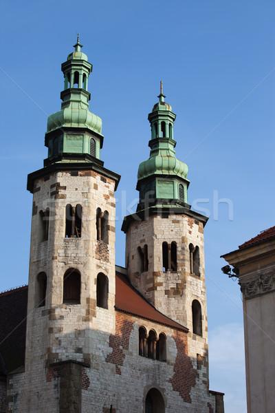 Templom óváros Krakkó Lengyelország középkori építészet Stock fotó © rognar