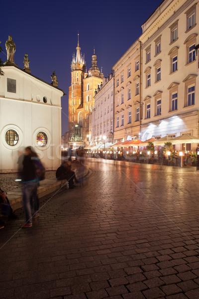 Város Krakkó éjszaka Lengyelország fő- tér Stock fotó © rognar