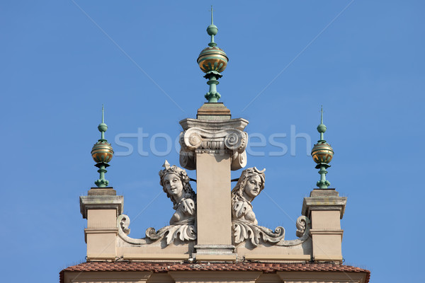 Dinials and Sculptures of the Sukiennice in Krakow Stock photo © rognar