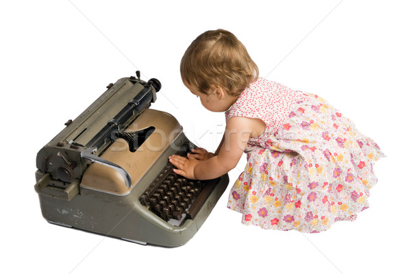 Baby Girl Typing on a Typewriter Stock photo © rognar