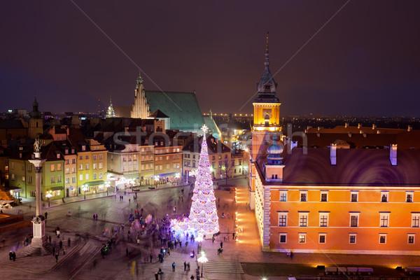 Oude binnenstad nacht Warschau Polen gebouw reizen Stockfoto © rognar