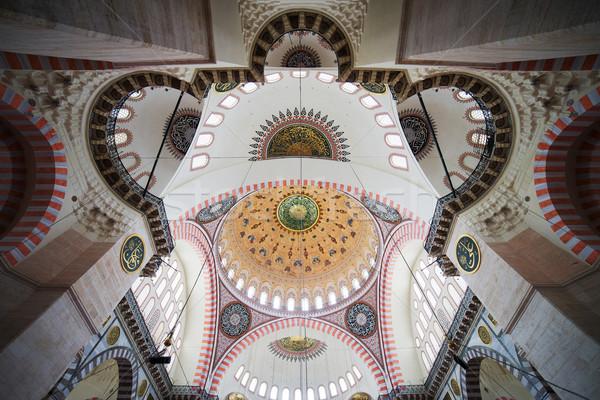Stock fotó: Mecset · plafon · díszes · belső · Isztambul · Törökország